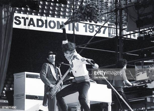 Opening for The Rolling Stones, Peter Wolf, Seth Justman, Danny Klein, The J Geils Band, performing on stage, Feyenoord Stadion , Rotterdam,...