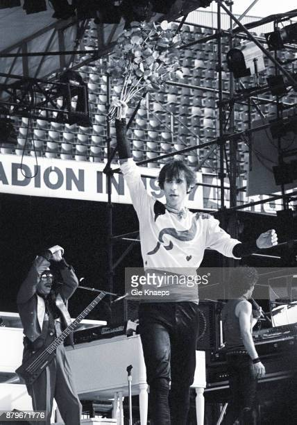 Opening for The Rolling Stones Peter Wolf Seth Justman Danny Klein The J Geils Band performing on stage Feyenoord Stadion Rotterdam Netherlands 5th...