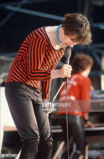 Opening for The Rolling Stones Peter Wolf Seth Justman The J Geils Band performing on stage Feyenoord Stadion Rotterdam Netherlands 5th June 1982