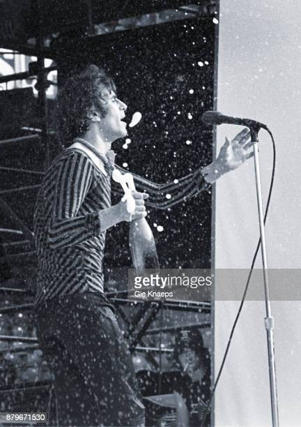 Opening for The Rolling Stones, Peter Wolf with a bottle of champagne, The J Geils Band, performing on stage, Feyenoord Stadion , Rotterdam,...