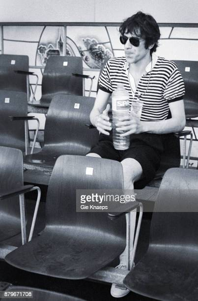 Opening for The Rolling Stones Peter Wolf with a bottle of Spa water The J Geils Band performing on stage Feyenoord Stadion Rotterdam Netherlands 5th...
