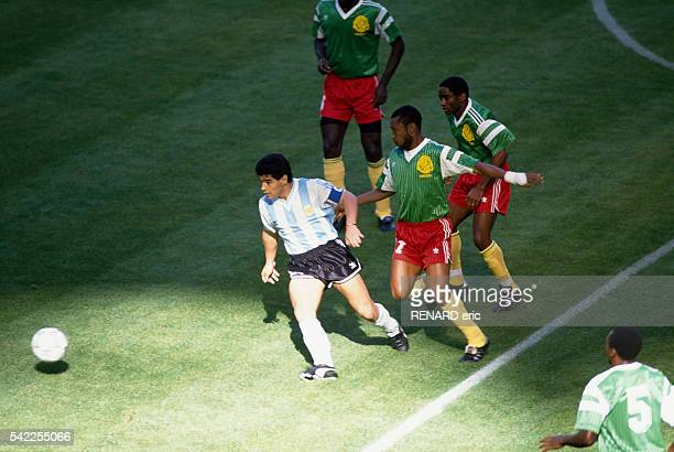 Opening game of the 1990 FIFA World Cup Argentina vs Cameroon Argentina's captain Diego Maradona in action