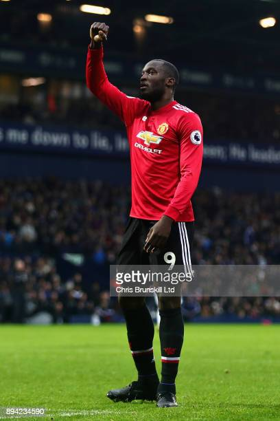 Opening goalscorer Romelu Lukaku of Manchester United celebrates scoring during the Premier League match between West Bromwich Albion and Manchester...