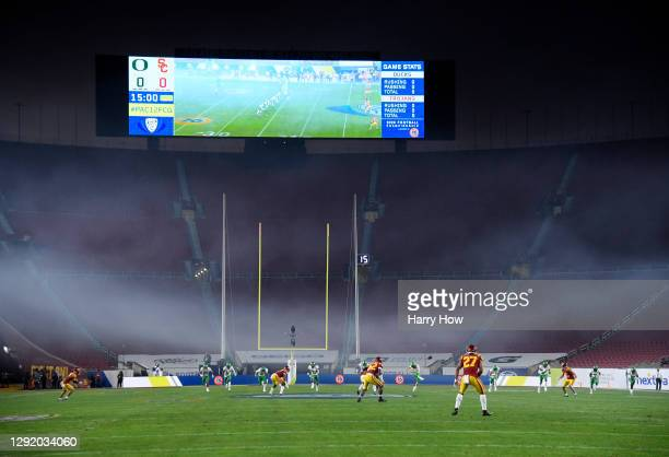 Opening kickoff without fans during the PAC 12 2020 Football Championship between the Oregon Ducks and the USC Trojans at United Airlines Field at...