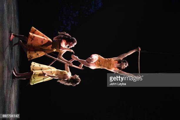 Opening night of Cirque de Soliel's performance 'Cyr Wheel Trapeze' in Denver titled 'Luzia' on June 1 2017 in Denver Colorado Trapeze artist Enya...