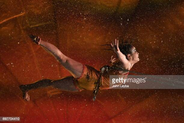 Opening night of Cirque de Soliel's performance Cyr Wheel Trapeze in Denver titled Luzia on June 1 2017 in Denver Colorado Trapeze artist Enya White...