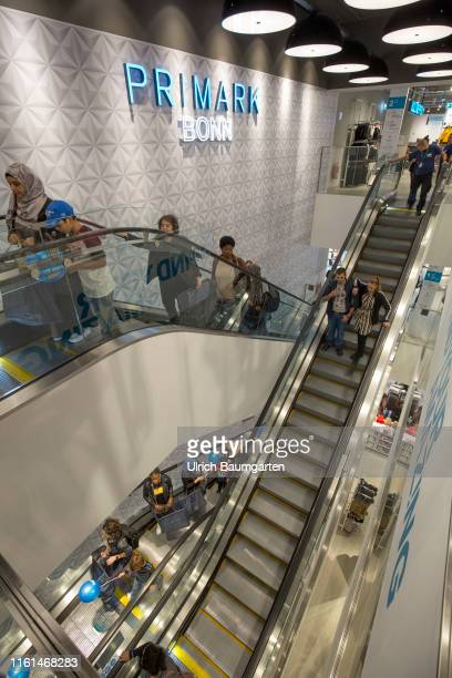 Opening of a Primark branch in Bonn Interior view with escalator visitors and the Primark logo
