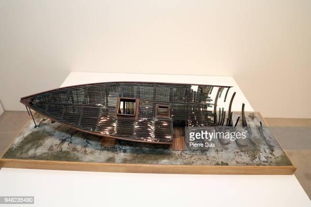 Opening of Agnes Varda's exhibition'Une cabane de cinemala serre du bonheur' at Galerie Nathalie Obadia on April 14 2018 in Paris France