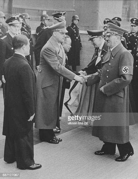 Opening of an exhibition of Japanes art at the Museums Island in Berlin: Adolf Hitler and Hermann Goering greeted by Japanese cultural attaché Saburo...