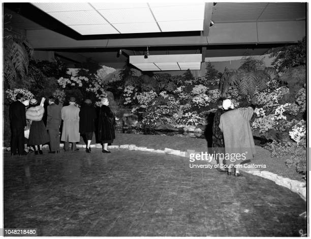 Opening of flower show, 21 March 1952. Dionnee Van Hessel;Richard Tongg;Joan MacDonald;Toni Wayne;Betty McCloskey;Mrs C.K Lindsey;Mr George Maas;Roy...