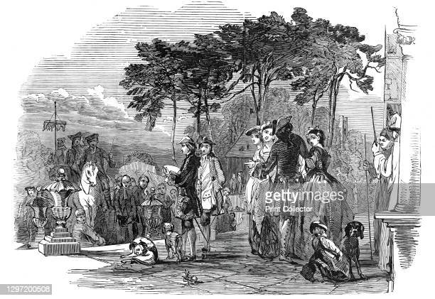 """Opening of """"Horn Fair"""" at Charlton, in 1745, 1845. Annual fair in south London; a scene inspired by '...a drawing of that period, in the possession..."""