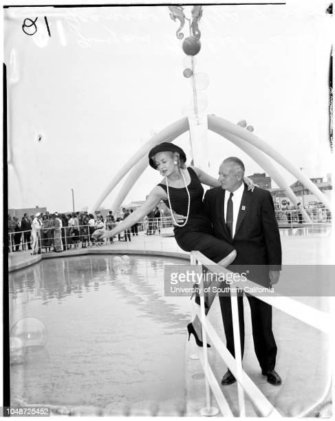 Opening of Pacific Ocean Park 22 July 1958 Gwynn WilsonJeanine DelysLawrence WelkLeo CarrilloAdmiral Walter H PriceMayor Russell HartBen O'...