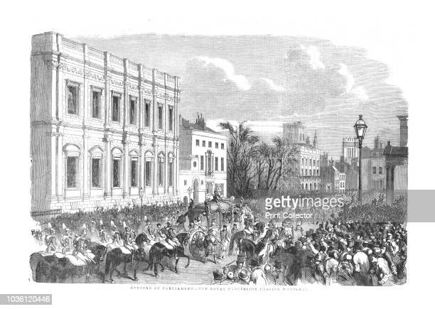 Opening of Parliament - The Royal Procession Passing Whitehall.', 1854. The State Coach containing Queen Victoria passes the Banqueting House on...