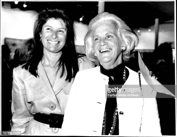 Opening of Patrick Hockey Exhibition at Holdsworth Gallery Wollahra Amana Finley and her mother Lady Finley February 09 1988