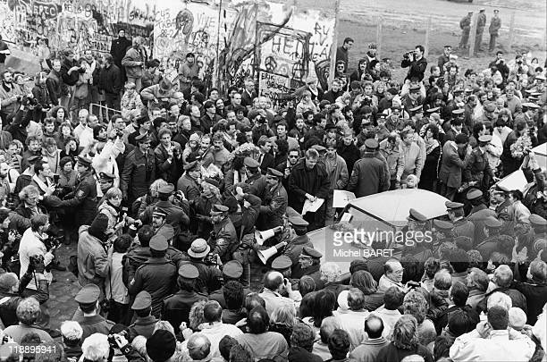 Opening of the Berlin wall on November 11, 1989 in West Berlin, Germany