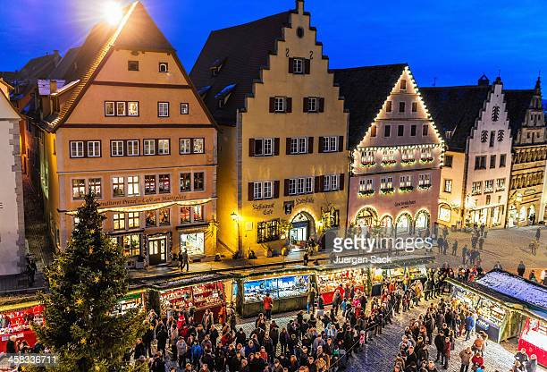 opening of the christmas market (reiterlesmarkt) in rothenburg - rothenburg stock photos and pictures