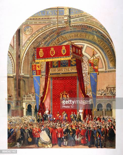 Opening of the International Exhibition of 1862 in the Crystal Palace by Queen Victoria's cousin George Duke of Cambridge Photo12/UIG via Getty Images
