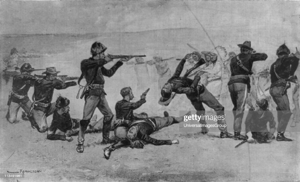Opening of the Massacre at Wounded Knee, South Dakota, 29 December 1890. US Seventh Cavalry in battle with Lakota Sioux Native American.