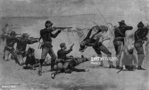 Opening of the Massacre at Wounded Knee South Dakota 29 December 1890 US Seventh Cavalry in battle with Lakota Native American