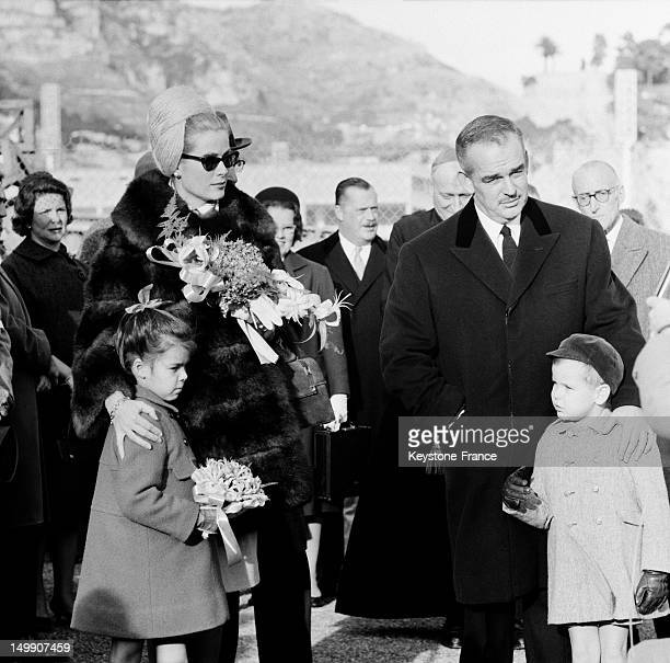 Opening of the Monaco Karting Club attended by Prince Rainier and Princess Grace of Monaco and their children Princess Caroline and Prince Albert on...