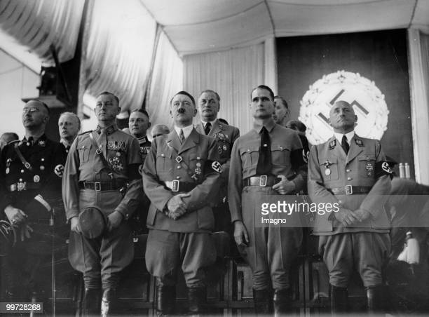 Opening of the 'Nuremberg Rally for work' in the Luitpoldhalle F l Heinrich Himmler Viktor Lutze Adolf Hitler Rudolf Hess and Julius Streicher Left...