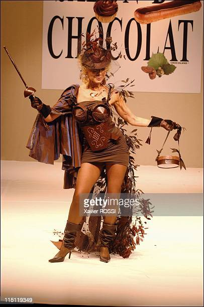 Opening of the Paris 11th Chocolate Fair in Paris France on October 22 2005 Grace de Capitani dressed by Philippe Model and Marquise de Sevigne