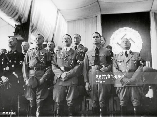 Opening of the 'Reichsparteitag' at Luitpoldhalle in Nuremberg From left to right ssleader Himmler chief of staff Lutze Adolf Hitler his deputy...