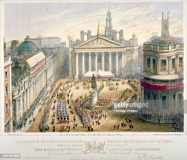 Opening of the Royal Exchange City of London 1844 Scene of the opening of the Royal Exchange by Queen Victoria on 28th October 1844 with a mounted...