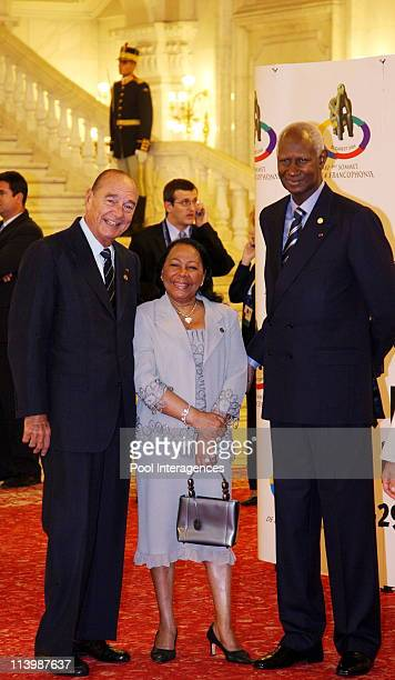 Opening of the XIth French Speaking Summit In Bucharest Romania On September 28 2006 French President Jacques Chirac Abdou Diouf and his wife