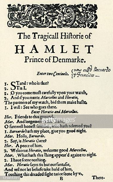 Opening page of the first quarto 'The Tragicall Historie of Hamlet Prince of Denmark' 'Enter two sentinels' WS English poet and playwright baptised...