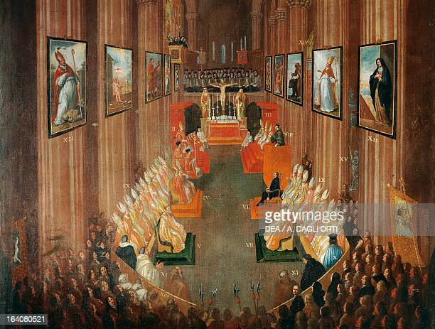 Opening session of the Council of Trent in 1545 by Nicolo Dorigati 1711 Detail Italy 16th century Trento Museo Diocesano Tridentino