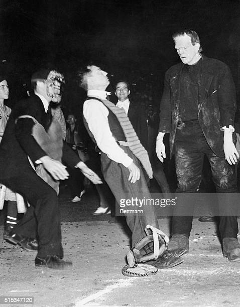 Opening the scoring for the leading men in their annual Mt. Sinai benefit baseball game against the film comedians, Boris 'Frankenstein' Karloff was...