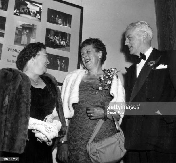 OpeningNightersChatting in the foyer before the first act curtain at the Civic theater were Mrs Henry L Larsen Mrs C Walter Allen and Victor Miller...