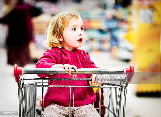 Open-mouthed supermarket girl