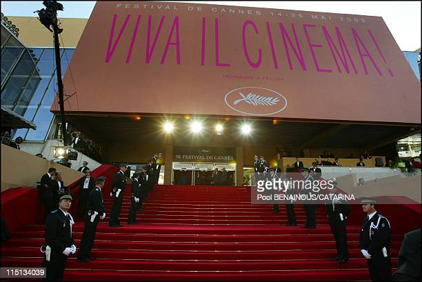 Openning of the 56th Cannes Film Festival Stairs of Fanfan la Tulipe in Cannes France on May 14 2003 The stairs