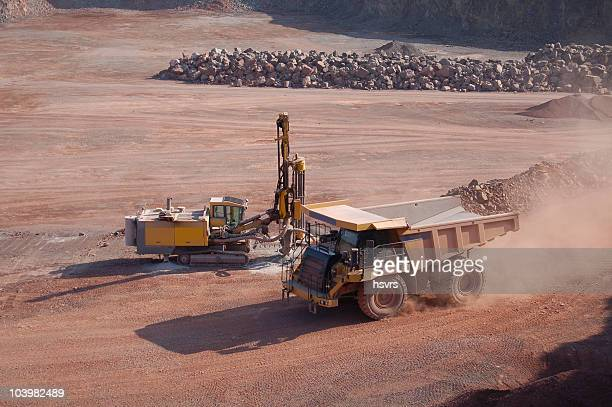 Open-pit Mine with Dump Truck and drill