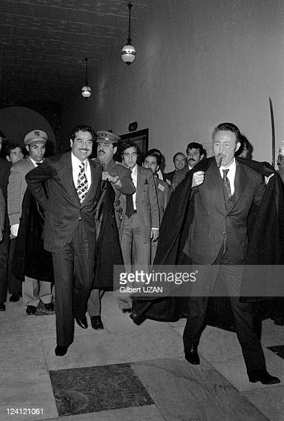 Opep Saddam Hussein and Emir Of Koweit in Algiers Algeria in March 1975 Saddam Hussein and Boumedienne