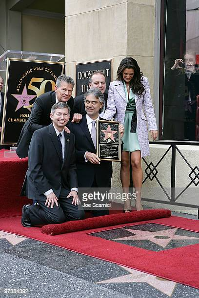 Opera and pop singer Andrea Bocelli unveils his star The Hollywood Walk Of Fame with Leron Gubler, Hollywood Chamber of Commerce President/CEO, music...