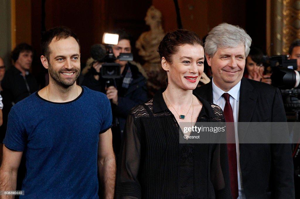 Benjamin Millepied, Stephane Lissner and Aurelie Dupont Give A Press Conference at Opera De Paris