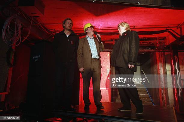 Opera director David Pountney and stage designer Johan Engels addresses the media during the roofing ceremony of the 'Seebuehne' on April 24, 2013 in...