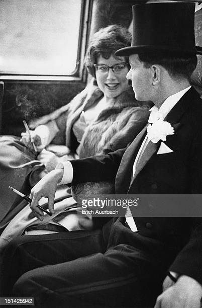 Opera fans on their way to Glyndebourne Festival Opera in the first class compartment of the Victoria to Lewes express, 28th May 1959.