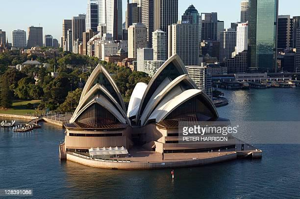 opera house aerial view early morning, sydney, nsw, australia - sydney ストックフォトと画像