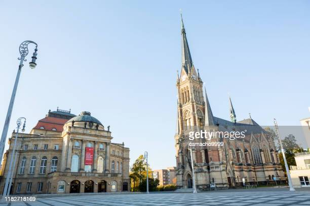 opera house and st. peter church in chemnitz - chemnitz stock pictures, royalty-free photos & images