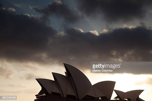 Opera House at sunrise, detail on the roofs, taken from the side. At sunrise. Sydney, New South Wales, Australia.