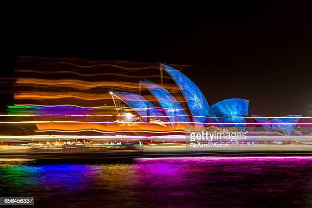 Opera House & ferry lights during Vivid festival