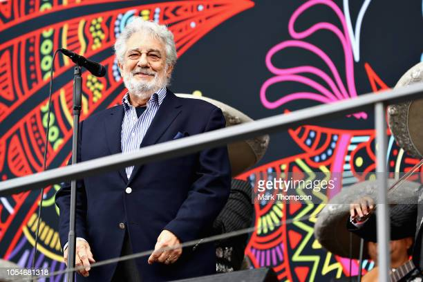 Opera legend Placido Domingo performs for the crowds before the Formula One Grand Prix of Mexico at Autodromo Hermanos Rodriguez on October 28 2018...