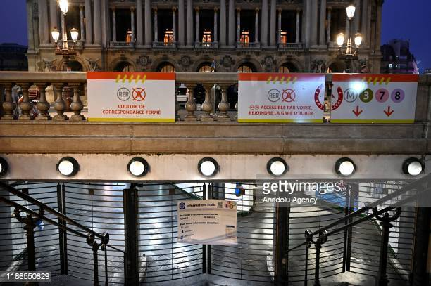 Opera metro station pictured as locked during a strike of Paris public transports operator RATP and public railways company SNCF employees against...