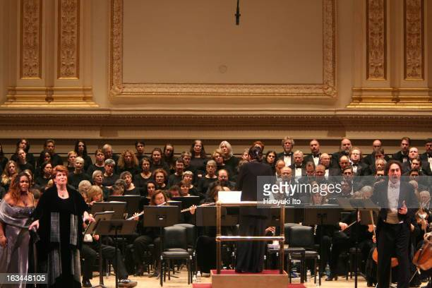 """Opera Orchestra of New York performing Francesco Cilea's """"L'Arlesiana"""" at Carnegie Hall on Wednesday night, February 21, 2007.This image;Eve Queler..."""