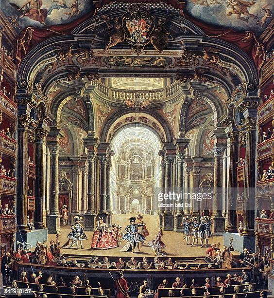 Opera performance in the Theatro Regio in Turin - painting from the 18th c