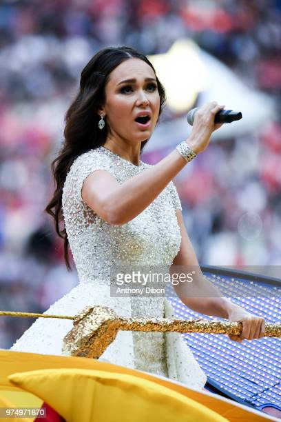 Opera singer Aida Garifullina perform at the opening ceremony during the 2018 FIFA World Cup Russia group A match between Russia and Saudi Arabia at...